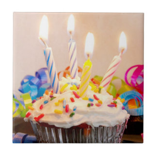 Birthday Cupcake with Candles Small Square Tile