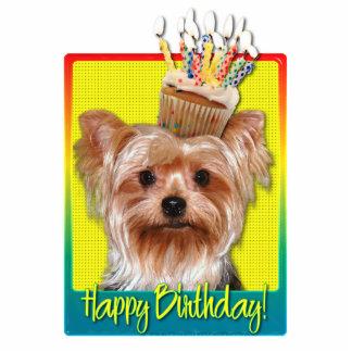 Birthday Cupcake - Yorkshire Terrier Standing Photo Sculpture