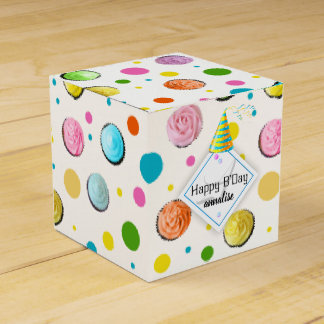 Birthday Cupcakes and Dots Monogram Favour Box