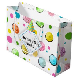 Birthday Cupcakes and Dots Monogram Large Gift Bag