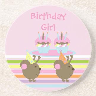 Birthday Cupcakes Party Mice Coaster