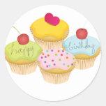 Birthday Cupcakes Round Stickers