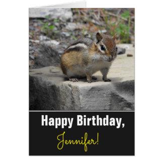 Birthday + Cute Chipmunk Like Critter on a Rock Card