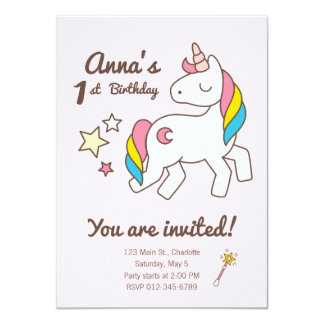 Birthday. Cute Unicorn with Cute Wand & Stars Card