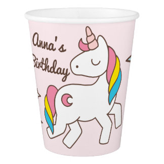 Birthday. Cute Unicorn with Sparkles & Crescents Paper Cup