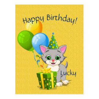 Birthday Cutie Grey Kitten Cartoon Postcard