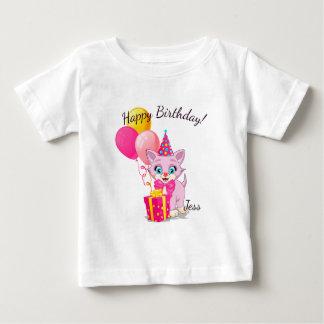 Birthday Cutie Pink Kitten Cartoon Baby T-Shirt