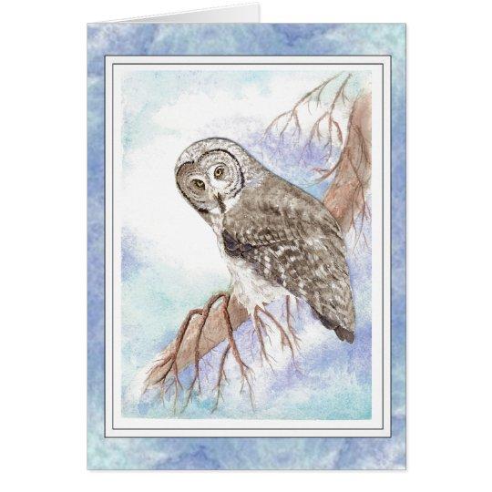 Birthday Dad Father with Great Grey, Grey Owl Bird Card