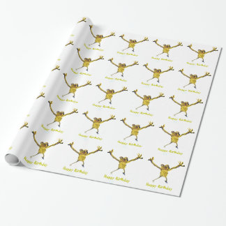Birthday Dancing Frog Funny Animal Art Wrapping Paper