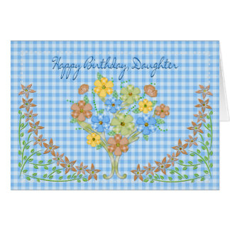 BIRTHDAY - DAUGHTER - BLUE GINGHAM/FLOWERS CARD