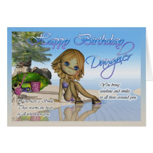 Birthday Daughter Cutie Pie Collection beach life Greeting Cards
