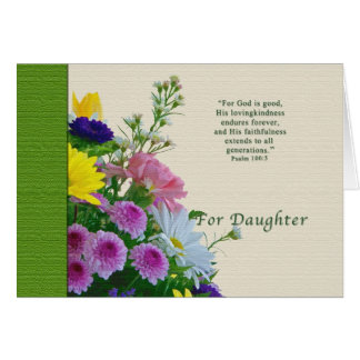 Birthday, Daughter, Floral Bouquet, Religious Card