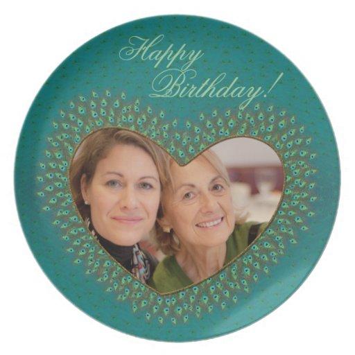 Birthday decorative heart photo frame plates