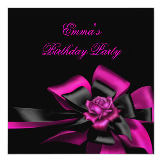 "Birthday Deep Pink Rose Black Bow Image 5.25"" Square Invitation Card"