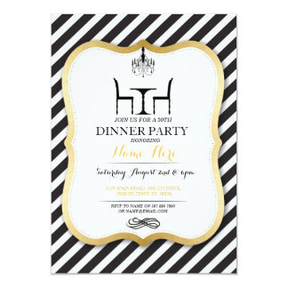 Birthday Dinner Party Gold Elegant Invitation