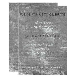 Birthday Distressed Grungy Silver Gray Cement Card