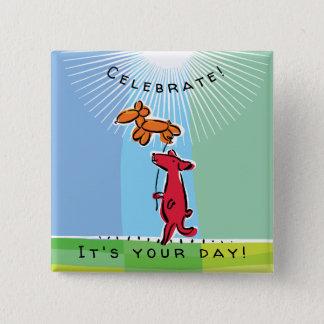 Birthday Dog with Balloon Animal 15 Cm Square Badge