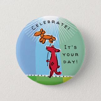 Birthday Dog with Balloon Animal 6 Cm Round Badge