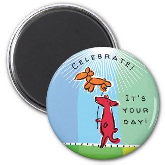 Birthday Dog with Balloon Animal Magnet