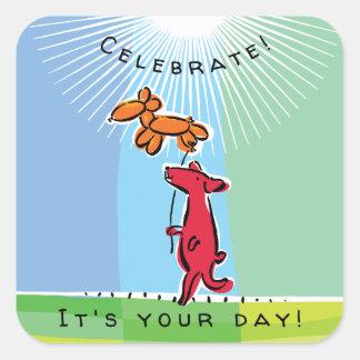 Birthday Dog with Balloon Animal Square Sticker