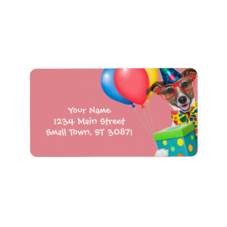 Birthday Dog With Balloons Tie and Glasses Address Label