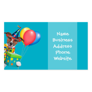 Birthday Dog With Balloons Tie and Glasses Pack Of Standard Business Cards