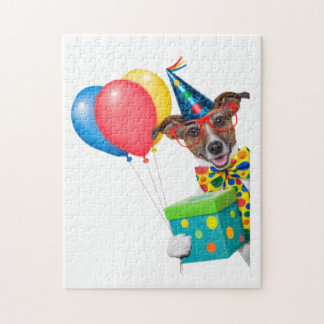 Birthday Dog With Balloons Tie and Glasses Jigsaw Puzzle