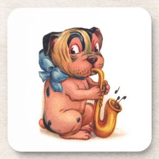 Birthday Dog with Saxophone Beverage Coasters