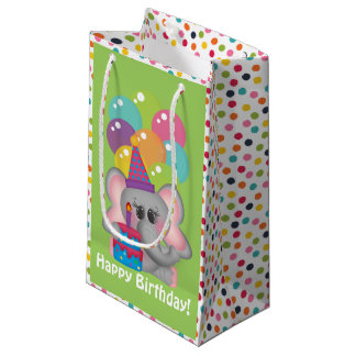 Birthday Elephant unisex kids medium gift bag