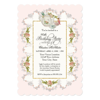Birthday Fairy Tea Party, Roses Teapot n Cups 13 Cm X 18 Cm Invitation Card