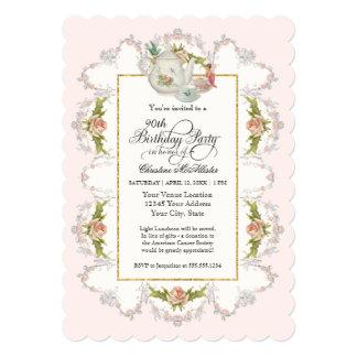 Birthday Fairy Tea Party, Roses Teapot n Cups 13 Cm X 18 Cm Invitation Card