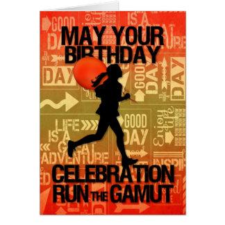 Birthday Female Runner Sport Theme Greeting Card