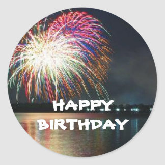 BIRTHDAY: Fireworks at the Lake Celebration Round Sticker