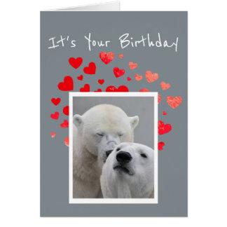 Birthday Flirty Polar Bears Cuddling Humor Card
