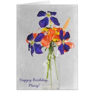 birthday-floral bouquet in retro bottle card