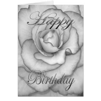 Birthday Flower white and black Card