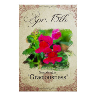 """Birthday flowers on April 15th """"Snapdragon"""" Poster"""