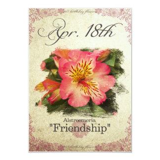 "Birthday flowers on April 18th ""Alstroemeria"" Card"