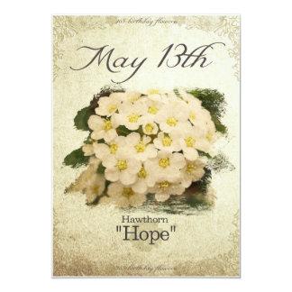 "Birthday flowers on May 13th ""Hawthorn"" Card"