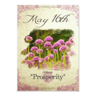"Birthday flowers on May 16th ""Allium"" Card"