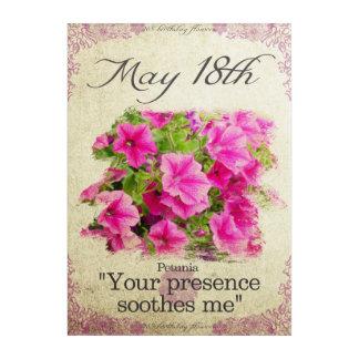 "Birthday flowers on May 18th ""Petunia"" Acrylic Wall Art"
