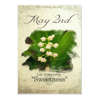 """Birthday flowers on May 2nd """"Lily of the valley"""" Card"""