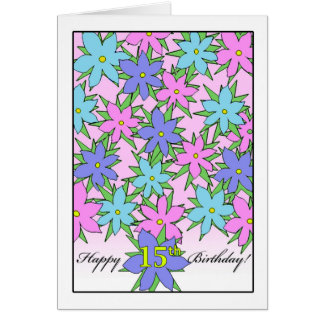 Birthday for 15 Year Old Girl, Pastel Flowers Greeting Card