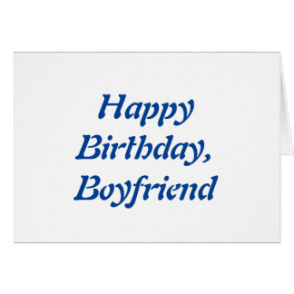 Birthday for a boyfriend, blue letters on white. greeting cards