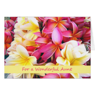 Birthday for Aunt, Tropical Plumeria, Frangipani Card