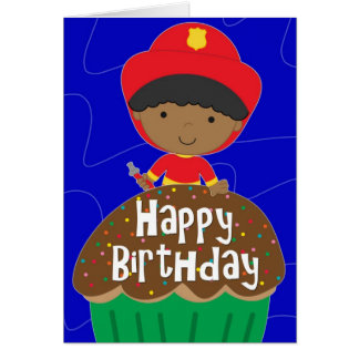Birthday for Boy - Little Firefighter with Cupcake Card