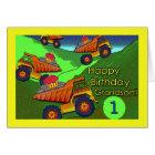 Birthday for Grandson, Dump Trucks with Cupcakes Card