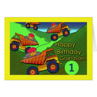 Birthday for Grandson, Dump Trucks with Cupcakes Greeting Card