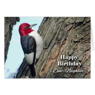 Birthday for Neighbor, Red-headed Woodpecker Card