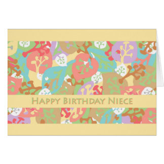 Birthday for Niece, Colorful Leaves on Yellow Greeting Cards